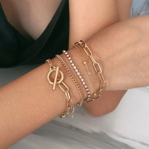 Set of Gold/Crystal Layered Bracelets